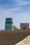 Minaret in ancient city of Khiva, Uzbekistan Stock Photos