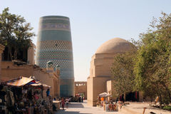 Minaret in ancient city of Khiva, Uzbekistan Stock Image