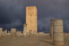 Minaret av moskén Hassan rabat morocco Royaltyfri Bild