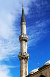 Minaret Blue mosque in Istanbul Royalty Free Stock Photos