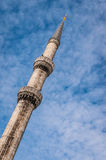 Minaret of Blue Mosque in Istanbul, Turkey. Blue Mosque minaret in Istanbul, Turkey Royalty Free Stock Photos