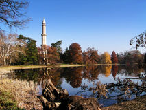 Minaret close to the lake. In Valtice (Czech Republic Royalty Free Stock Image