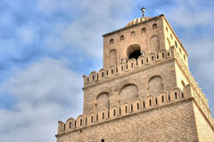Minaret de la mosquée grande dans Kairouan Photographie stock libre de droits