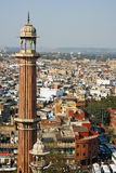 Minaret in Delhi. Minaret of the Jama Masjid Mosque in Old Delhi, India Stock Images