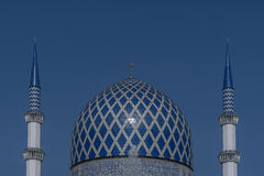 Minaret and Dome of the Sultan Salahuddin Abdul Aziz Shah Mosque is the state mosque of Selangor, Malaysia. Stock Photo