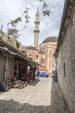 Minaret and domes of the Suleymaniye Mosque Rhodes Stock Photo