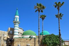 El-Zeituna Mosque in the old city of Acre, Israel. Minaret of El-Zeituna Mosque in the old city of Acre, Israel royalty free stock photos