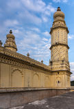 Minaret en muur van Jamia Masjid-moskee, Mysore, India stock foto's