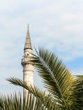 Minaret en palm op blauwe hemel Royalty-vrije Stock Fotografie