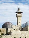Minaret et dôme 2012 de mosquée de Jérusalem Al-Aqsa Images libres de droits