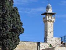 Minaret 2012 för Jerusalem al-Aqsamoské Arkivfoto