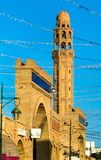 Minaret of Farkous Mosque in the medina of Tozeur, Tunisia. North Africa Stock Images