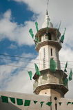 Minaret with Hamas Flags. GAZA CITY, OCCUPIED PALESTINIAN TERRITORIES - JANUARY 19: The green flags of the Hamas Islamist political party that control Gaza's Stock Images