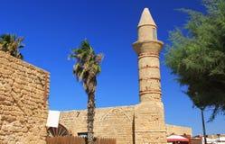 Minaret i den Caesarea Maritima nationalparken arkivfoto