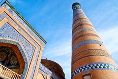 Minaret in Ichan Kala Stock Afbeeldingen