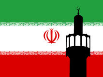 Minaret with Iranian Flag. Minaret of mosque against Iranian Flag Royalty Free Stock Photography