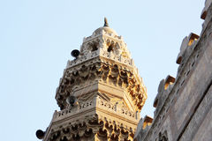 Minaret. Islamic minaret and designs in an old mosque in cairo in egypt stock photo