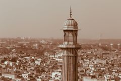 Minaret of Jama Masjid mosque in Old Delh Royalty Free Stock Photos