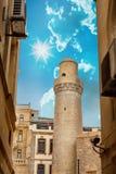 Minaret of Juma Mosque, Cume mescidi in the Baku Old City, Azerbaijan Stock Image