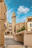 Minaret of Juma Mosque, Cume mescidi in the Baku Old City, Azerbaijan Royalty Free Stock Images