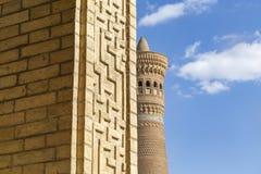 Minaret Kalyan Één van de grootste gebouwen in de Grote minaret van het Oosten of Minaret van Dood Behandeld met keramische tegel stock foto's