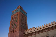 Minaret of the kasbah in Marrakesh, Morocco. Minaret of the Kasbah district in Marrakesh, Morocco. The Kasbah was the first Citadel of the Sultans of Morocco Royalty Free Stock Images