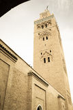 Minaret Koutoubia moské marrakesh morocco Arkivbilder