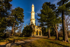 Minaret in Lednice. Landmark of Lednice. Minaret in the park near lakes stock image