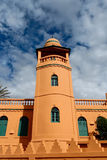 Minaret in Madagascar. Orange mosque in Antsirabe with green windows Stock Photography