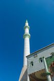The minaret of the main mosque in the town of Side Royalty Free Stock Photos