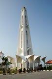 Minaret of Malacca Straits Mosque (Masjid Selat Melaka) in Malacca Stock Photography