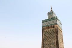 Minaret meczet w fezie Marocco Zdjęcia Royalty Free