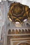 minaret Mihrab Le grand intérieur célèbre de mosquée ou de Mezquita à Cordoue, Espagne photographie stock