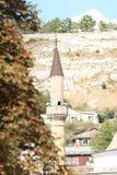 Minaret of a mosque in Bakhchysaray. Crimea. stock photos