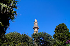 Minaret mosque with blue sky Royalty Free Stock Photography