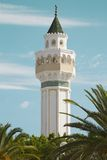 Minaret of the Mosque Cheikh Saleh Kamel situated in Les Berges du Lac, Tunisia Royalty Free Stock Photos