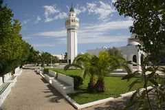 Minaret of the Mosque Cheikh Saleh Kamel situated in Les Berges du Lac, Tunisia Stock Photo
