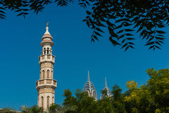 The minaret of a mosque Stock Image