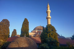 Minaret of the Mosque of Suleiman. In Rhodes, Greece Royalty Free Stock Photography
