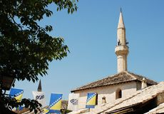 Minaret in Mostar Royalty Free Stock Photography