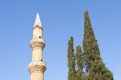 Minaret near tree in Cyprus Stock Photo