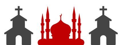 Minaret- och klockatornkontur royaltyfri illustrationer