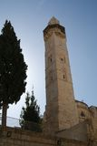 Minaret in the Old City of Jerusalem Stock Photo