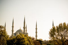 Minaret of Ottoman Mosques in view Stock Image