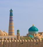 Minaret in oude stad van Khiva Stock Afbeelding