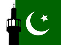 Minaret with Pakistani Flag. Minaret of mosque against Pakistani Flag Royalty Free Stock Photos