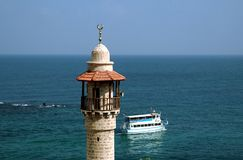 Minaret on the seashore Royalty Free Stock Photos