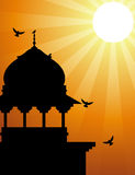 Minaret silhouette with sunlight Stock Photo