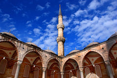 Minaret on sky. An old Minaret of Blue Mosque on sky in Istanbul royalty free stock images