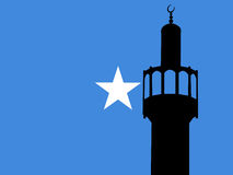Minaret with Somalian Flag. Minaret of mosque against Somalian Flag Stock Photos